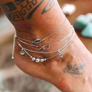 ⚜️[𝟯/$𝟭𝟴]⚜️4 Layered Silver Ankle Bracelet NEW